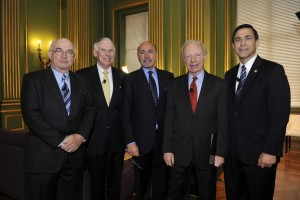 Mr Shafik Gabr, centre, with (left to right): Kemal Dervis, Admiral William J. Fallon, Sen. Joe Lieberman and Rep. Darrell Issa