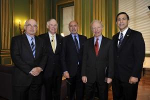 Mr Shafik Gabr, centre, with (left to right): Kemal Dervis, Admiral William J. Fallon, Sen. Joe Lieberman and Rep. Darrell Issa