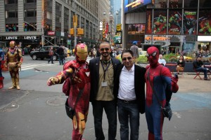 Habibi and Nagy with Spiderman and Ironman
