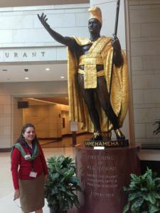 Reem in front of Kamehameha statue, US Capitol