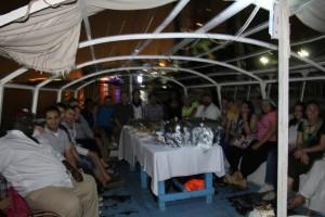 Fellows dine on Felluca on the Nile