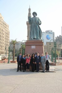 Gabr Fellows at Omar Makram Statue