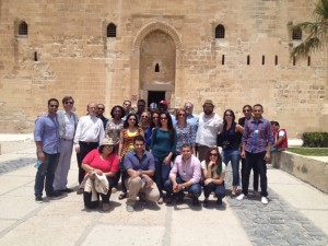 Fellows in front of Fort Qaitby in Alexandria