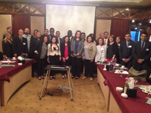 Dr Hala El Saeed with Fellows after a session on Egypt's economy