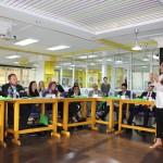Mrs. Dina El Mofty, Executive Director of Injaz Egypt talking to the Fellows about Entrepreneurshp in Egypt