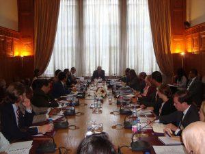 H.E. Ahmed Aboul Gheit address the fellows at the Arab League