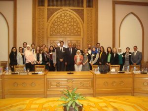 H.E. Foreign Minister Sameh Shoukry addresses the fellows at the Foreign Ministry