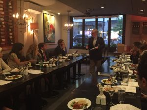 Dr Gregory Copley addresses the Fellows in a dinner meeting