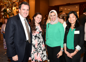 Councilor Sean Murphy and Daughter Layla, 2015 Gabr Fellow Basma El Baz and 2016 Gabr Fellow Katherine Tan