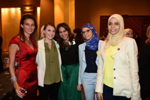 Ms. Samia Bayou with 2016 Gabr Fellows Abby Wiedenhaefer, Hadeel Adel, Chaza Abou Daher, and Nayra Gadallah